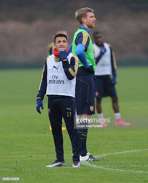Alexis Sanchez of Arsenal during a training session at London Colney on January 21 2016 in St Albans England