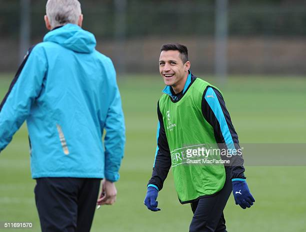 Alexis Sanchez of Arsenal during a training session at London Colney on February 22 2016 in St Albans England