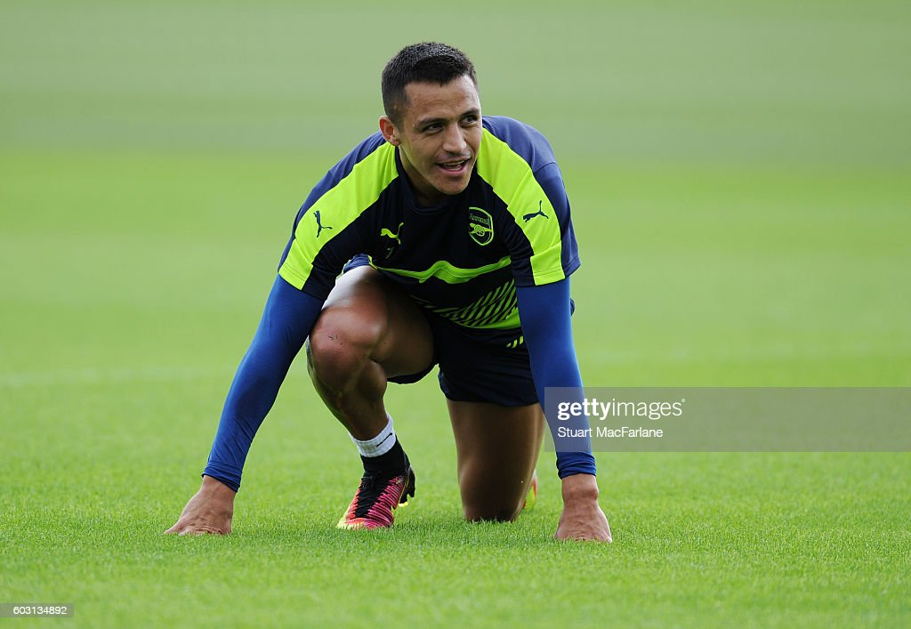 Alexis Sanchez of Arsenal during a training session at London Colney on September 12, 2016 in St Albans, England.