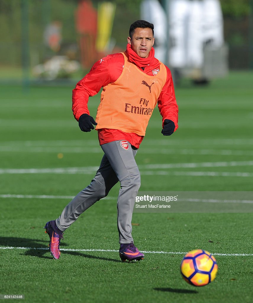 Alexis Sanchez of Arsenal during a training session at London Colney on November 18, 2016 in St Albans, England.