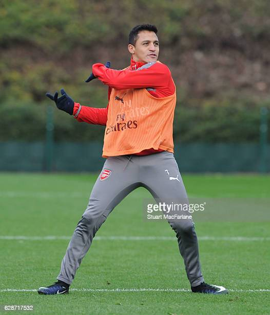 Alexis Sanchez of Arsenal during a training session at London Colney on December 9 2016 in St Albans England