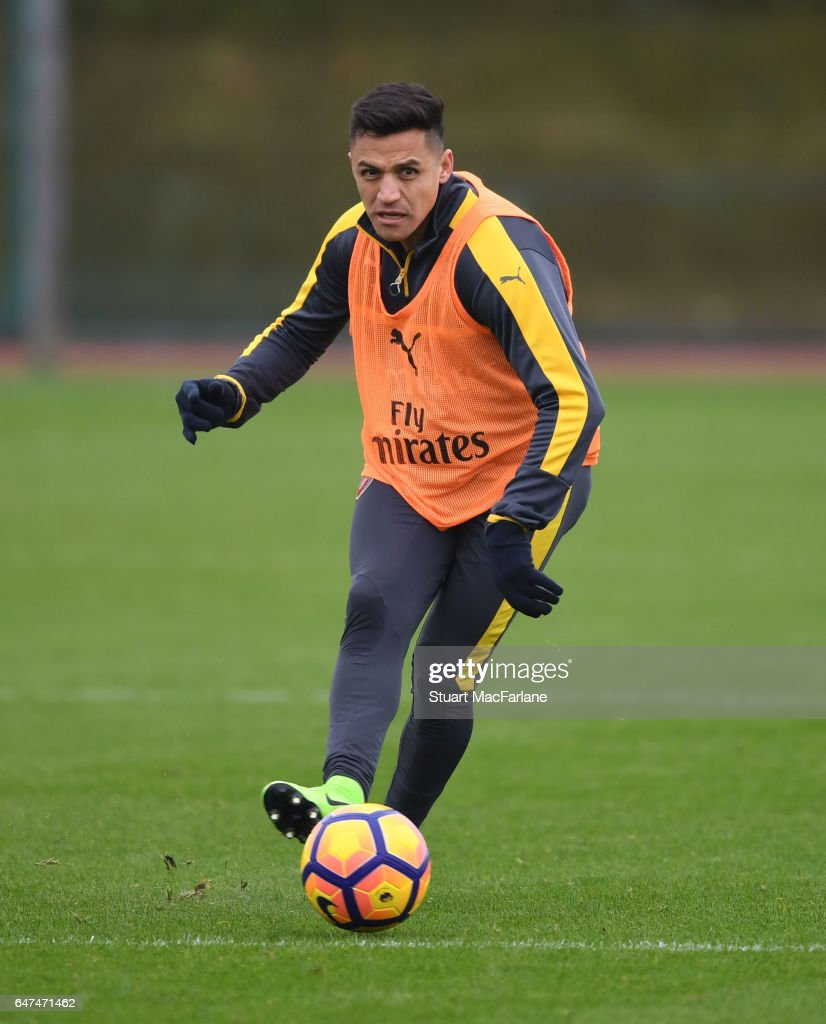 Alexis Sanchez of Arsenal during a training session at London Colney on March 3, 2017 in St Albans, England.