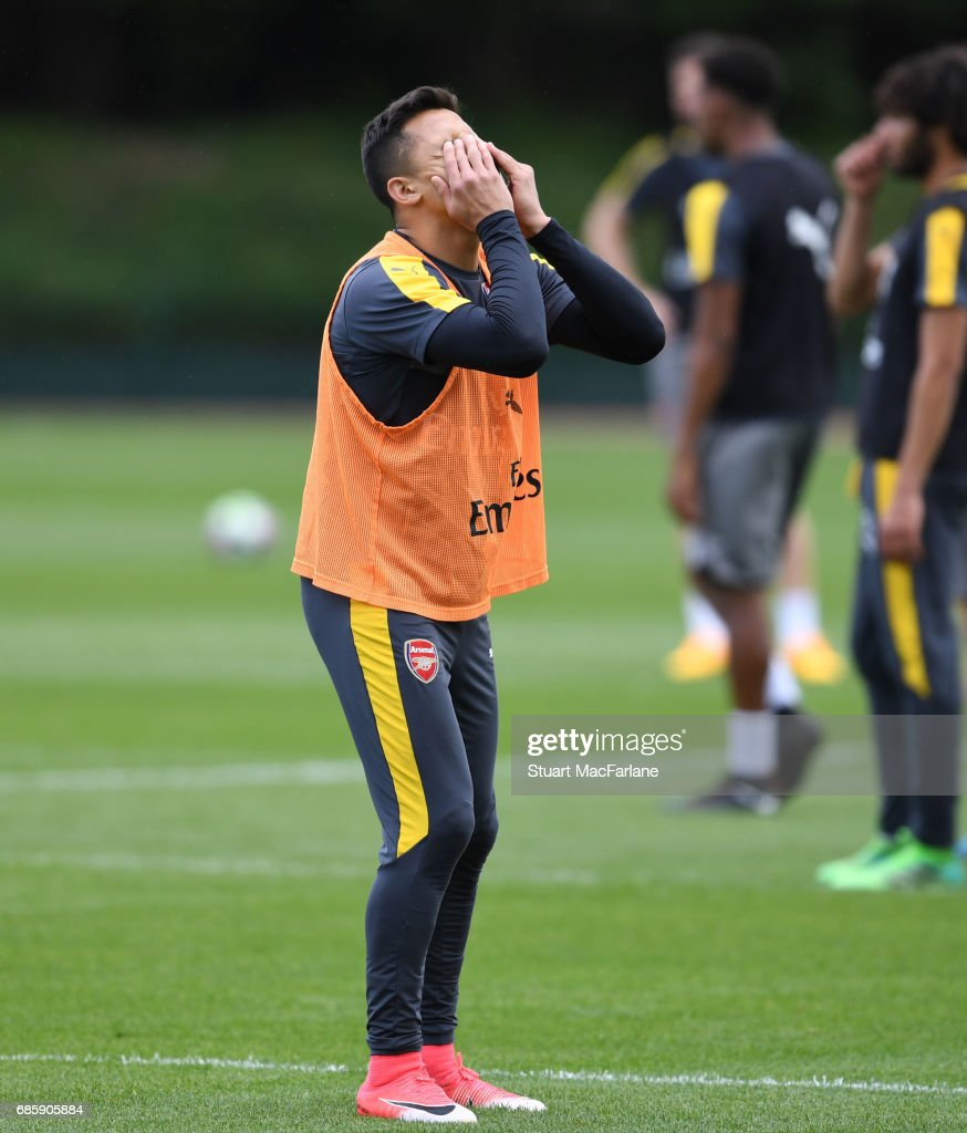 Alexis Sanchez of Arsenal during a training session at London Colney on May 20, 2017 in St Albans, England.