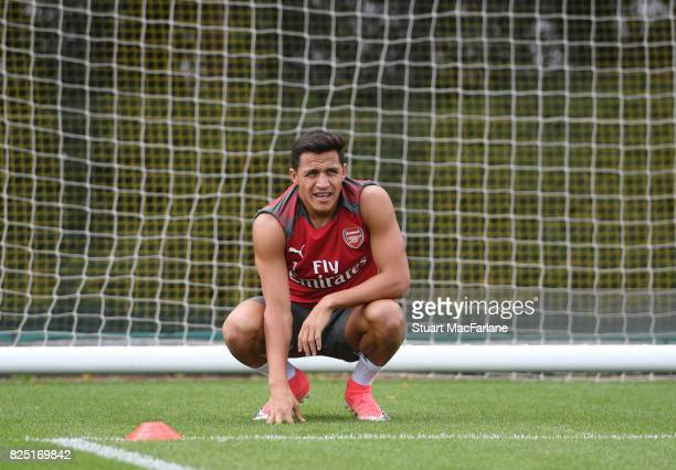 Alexis Sanchez of Arsenal during a training session at London Colney on August 1 2017 in St Albans England