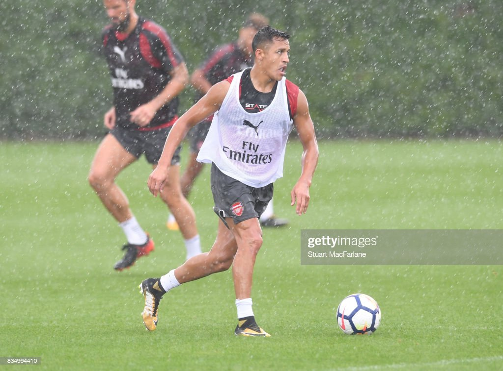 Alexis Sanchez of Arsenal during a training session at London Colney on August 18, 2017 in St Albans, England.