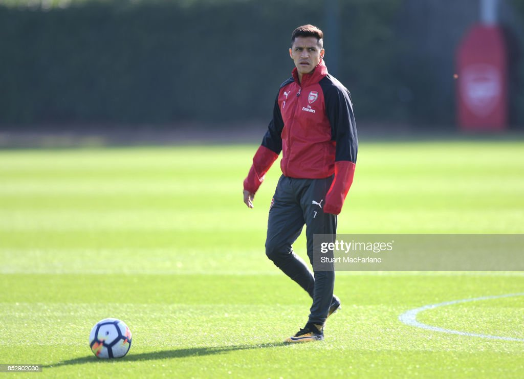 Alexis Sanchez of Arsenal during a training session at London Colney on September 24, 2017 in St Albans, England.