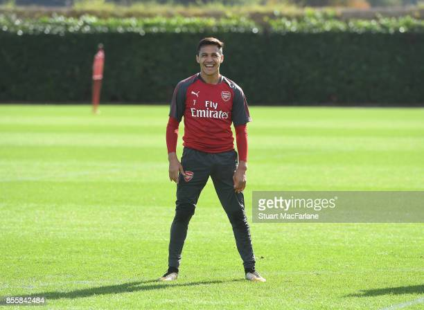 Alexis Sanchez of Arsenal during a training session at London Colney on September 30 2017 in St Albans England