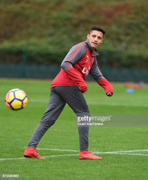 Alexis Sanchez of Arsenal during a training session at London Colney on November 4 2017 in St Albans England