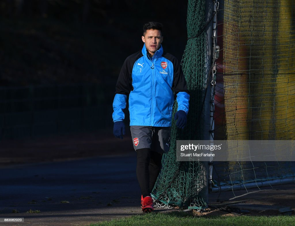 Alexis Sanchez of Arsenal during a training session at London Colney on December 1, 2017 in St Albans, England.