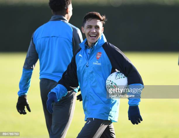 Alexis Sanchez of Arsenal during a training session at London Colney on December 18 2017 in St Albans England