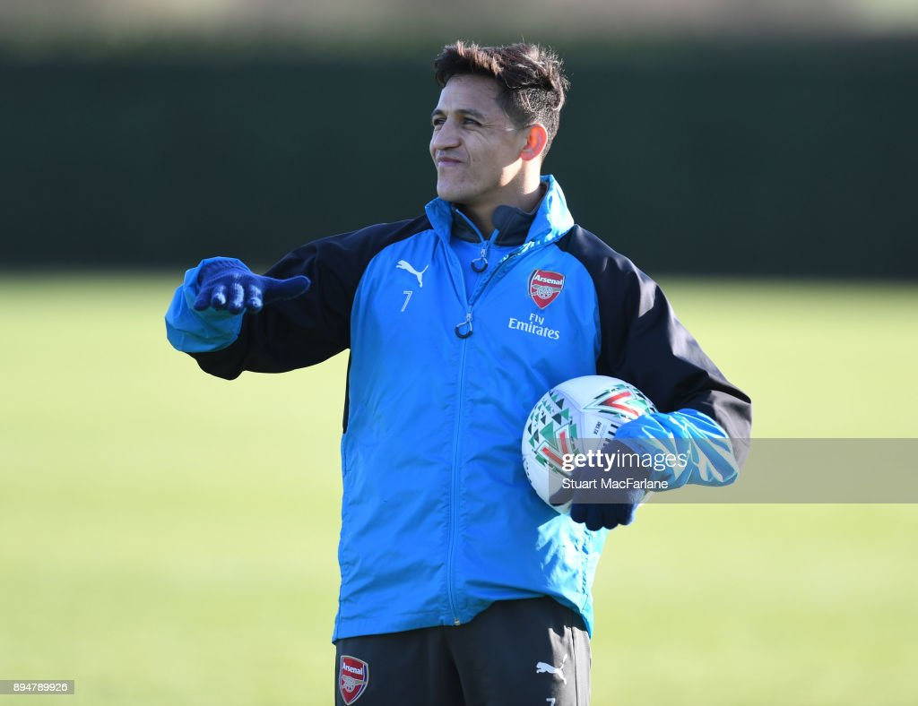 Alexis Sanchez of Arsenal during a training session at London Colney on December 18, 2017 in St Albans, England.