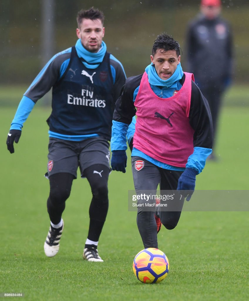 Alexis Sanchez of Arsenal during a training session at London Colney on December 27, 2017 in St Albans, England.