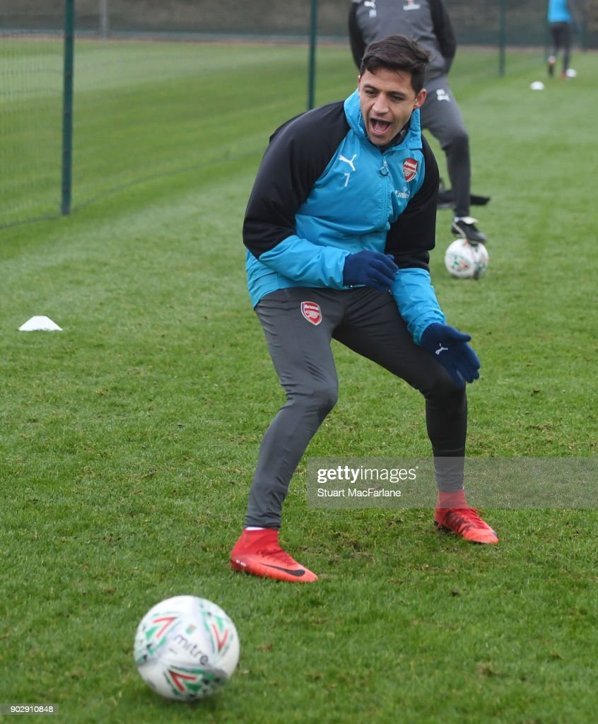 Alexis Sanchez of Arsenal during a training session at London Colney on January 9, 2018 in St Albans, England.