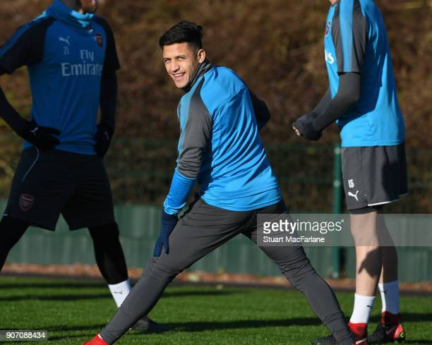 Alexis Sanchez of Arsenal during a training session at London Colney on January 19 2018 in St Albans England