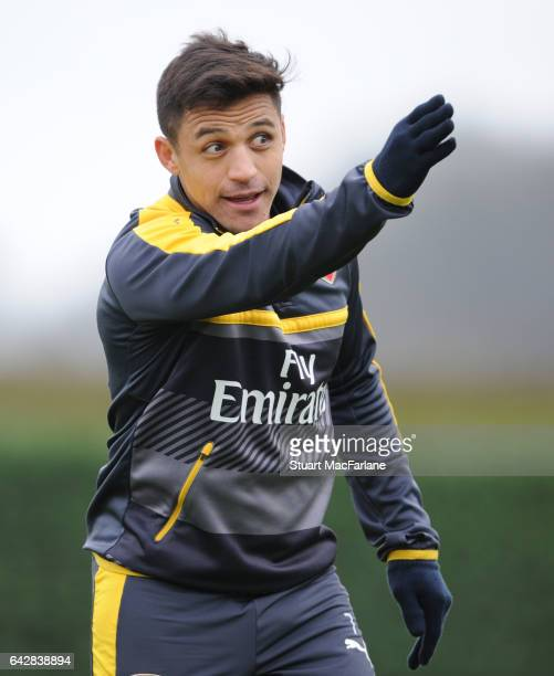 Alexis Sanchez of Arsenal during a training session on February 19 2017 in St Albans England