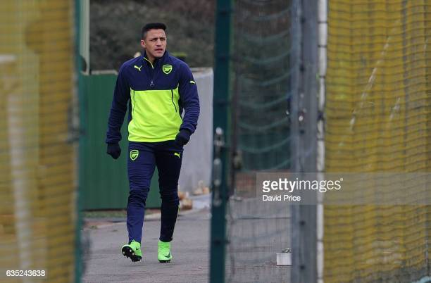 Alexis Sanchez of Arsenal during the Arsenal Training Session at London Colney on February 14, 2017 in St Albans, England.