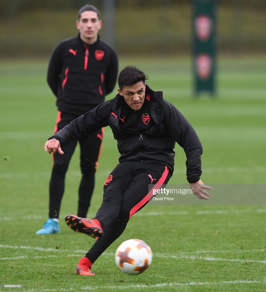 Alexis Sanchez of Arsenal during the Arsenal training session, on the eve of the UEFA Europa League group H match against BATE Borisov, at London Colney on December 6, 2017 in St Albans, England.