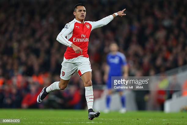 Alexis Sanchez of Arsenal during the Barclays Premier League match between Arsenal and Chelsea at the Emirates Stadium on January 24 2016 in London...