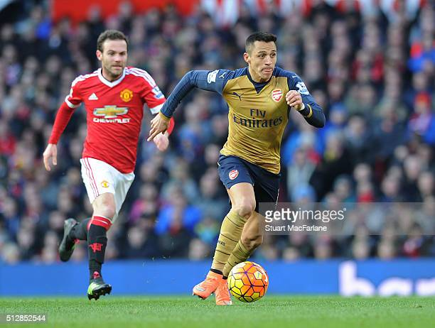 Alexis Sanchez of Arsenal during the Barclays Premier League match between Manchester United and Arsenal at Old Trafford on February 28 2016 in...