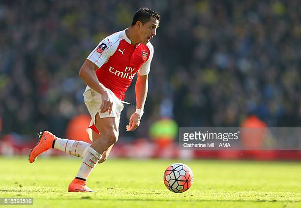 Alexis Sanchez of Arsenal during the Emirates FA Cup match between Arsenal and Watford at the Emirates Stadium on March 13 2016 in London England