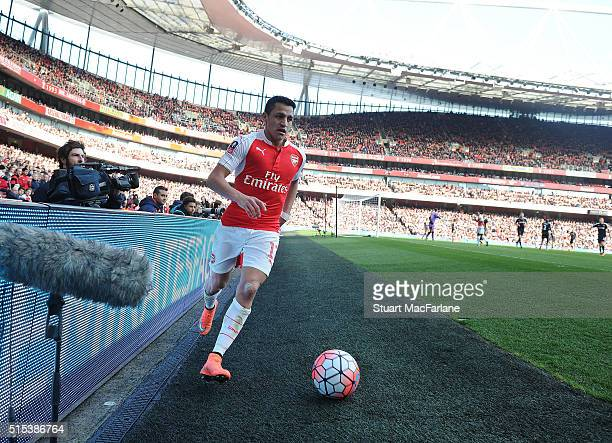 Alexis Sanchez of Arsenal during the Emirates FA Cup Sixth Round match between Arsenal and Watford at Emirates Stadium on March 13 2016 in London...