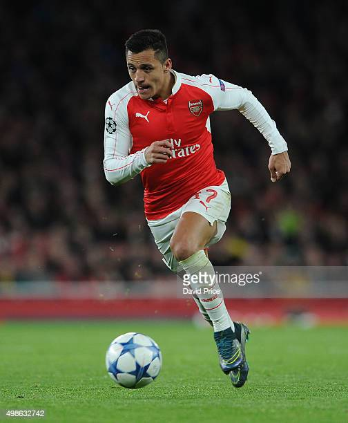 Alexis Sanchez of Arsenal during the match between Arsenal and Dinamo Zagreb in the UEFA Champions League on November 24 2015 in London United Kingdom