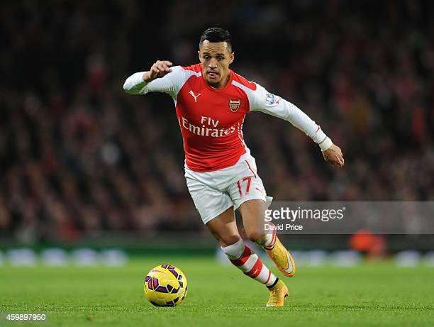 Alexis Sanchez of Arsenal during the match between Arsenal and Southampton in the Barclays Premier League at Emirates Stadium on December 3 2014 in...