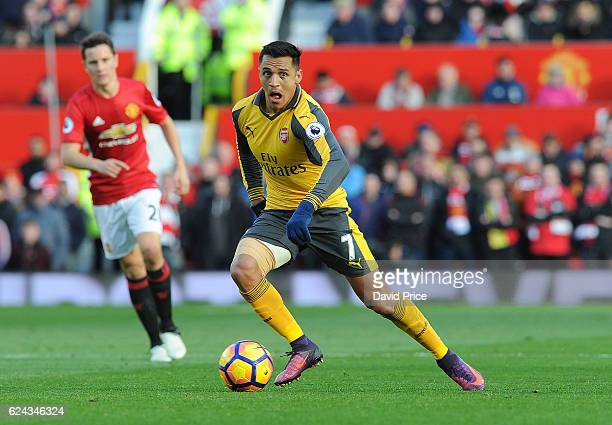 Alexis Sanchez of Arsenal during the Premier League match between Manchester United and Arsenal at Old Trafford on November 19 2016 in Manchester...