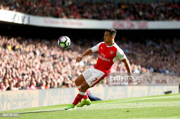 Alexis Sanchez of Arsenal during the Premier League match between Arsenal and Manchester City at Emirates Stadium on April 2 2017 in London England