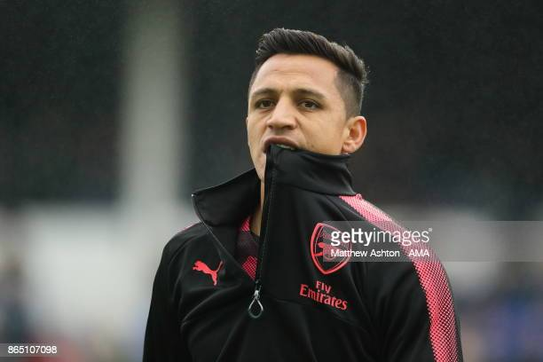 Alexis Sanchez of Arsenal during the Premier League match between Everton and Arsenal at Goodison Park on October 22 2017 in Liverpool England