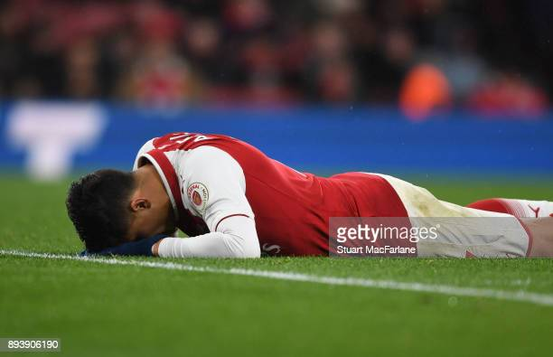 Alexis Sanchez of Arsenal during the Premier League match between Arsenal and Newcastle United at Emirates Stadium on December 16 2017 in London...