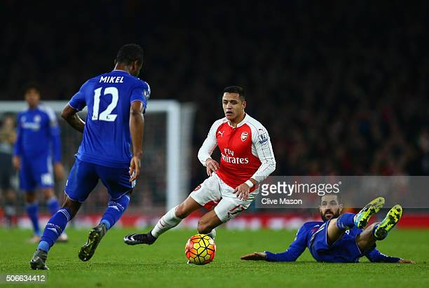 Alexis Sanchez of Arsenal in action during the Barclays Premier League match between Arsenal and Chelsea at The Emirates Stadium on January 24 2016...