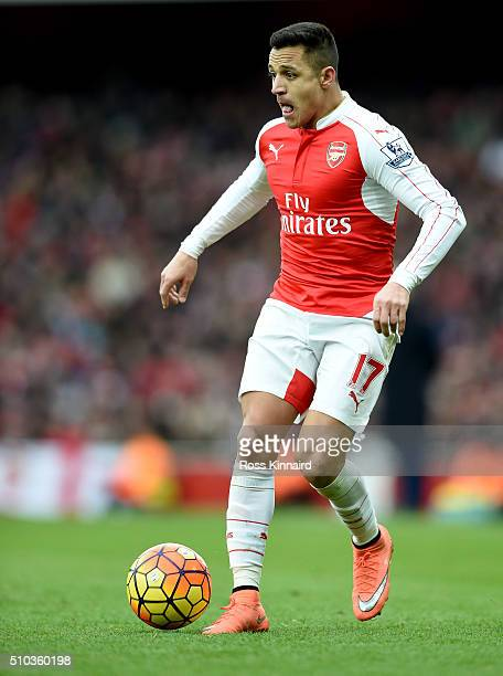 Alexis Sanchez of Arsenal in action during the Barclays Premier League match between Arsenal and Leicester City at the Emirates Stadium February 14...