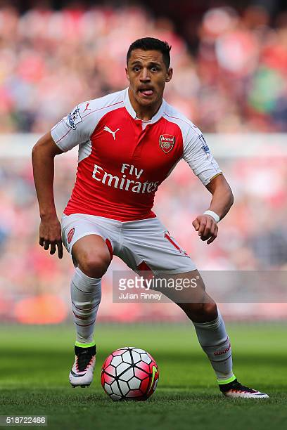 Alexis Sanchez of Arsenal in action during the Barclays Premier League match between Arsenal and Watford at the Emirates Stadium on April 2 2016 in...