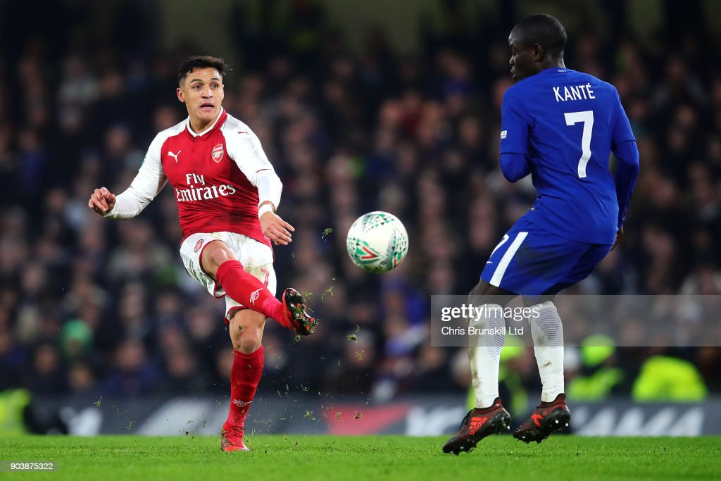 Alexis Sanchez of Arsenal in action during the Carabao Cup Semi-Final first leg match between Chelsea and Arsenal at Stamford Bridge on January 10, 2018 in London, England.