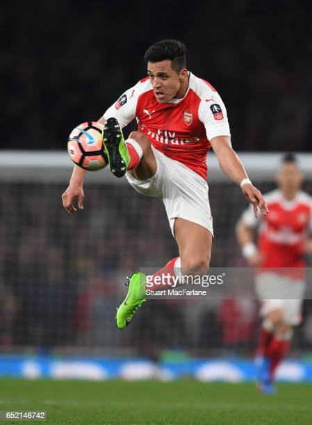 Alexis Sanchez of Arsenal in action during the Emirates FA Cup Quarter-Final between Arsenal and Lincoln City at Emirates Stadium on March 11, 2017...