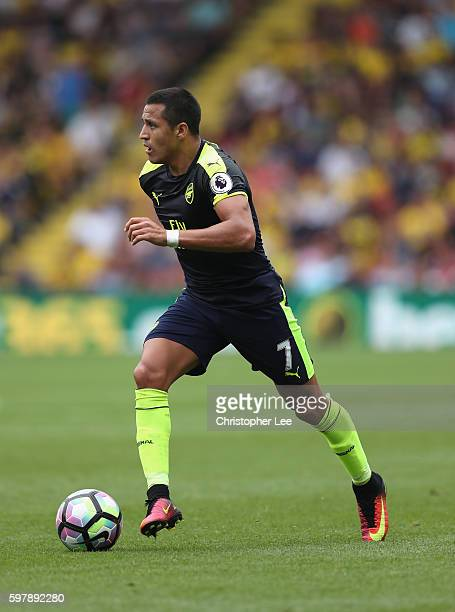 Alexis Sanchez of Arsenal in action during the Premier League match between Watford and Arsenal at Vicarage Road on August 27 2016 in Watford England