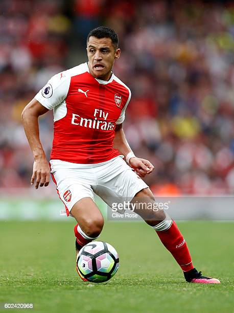 Alexis Sanchez of Arsenal in action during the Premier League match between Arsenal and Southampton at Emirates Stadium on September 10 2016 in...