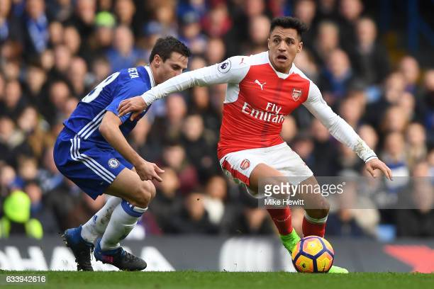 Alexis Sanchez of Arsenal in action during the Premier League match between Chelsea and Arsenal at Stamford Bridge on February 4 2017 in London...