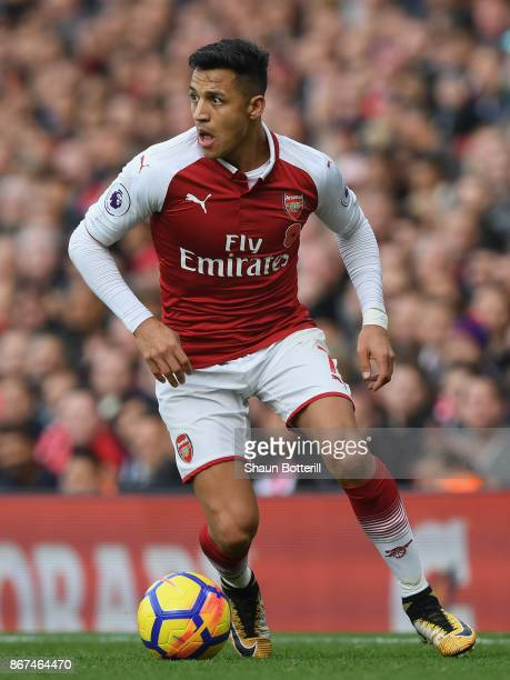 Alexis Sanchez of Arsenal in action during the Premier League match between Arsenal and Swansea City at Emirates Stadium on October 28 2017 in London...