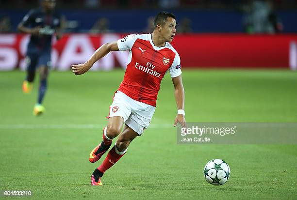 Alexis Sanchez of Arsenal in action during the UEFA Champions League group phase match between Paris SaintGermain and Arsenal FC at Parc des Princes...