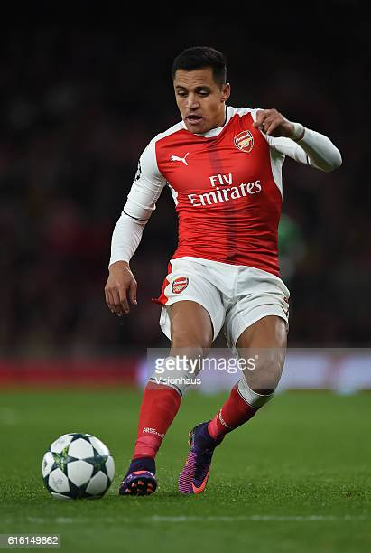 Alexis Sanchez of Arsenal in action during the UEFA Champions League match between Arsenal FC and PFC Ludogorets Razgrad at Emirates Stadium on...