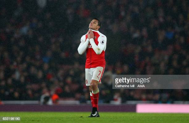 Alexis Sanchez of Arsenal looks dejected during the Premier League match between Arsenal and Watford at Emirates Stadium on January 31 2017 in London...