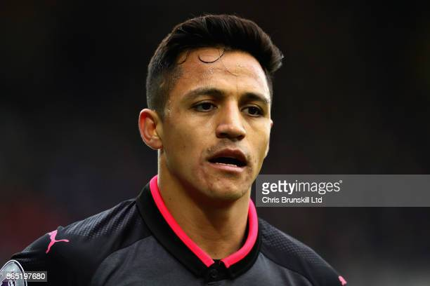 Alexis Sanchez of Arsenal looks on during the Premier League match between Everton and Arsenal at Goodison Park on October 22 2017 in Liverpool...