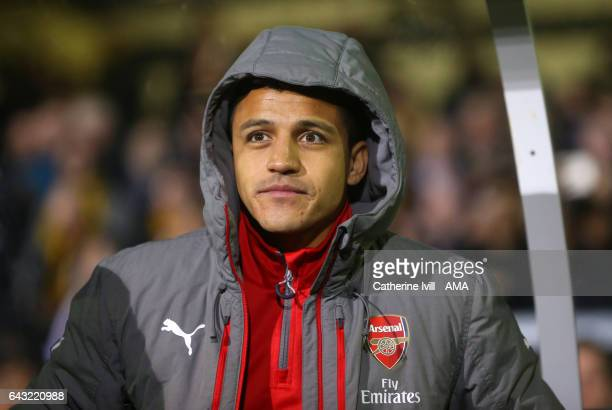 Alexis Sanchez of Arsenal on the bench during The Emirates FA Cup Fifth Round match between Sutton United and Arsenal on February 20 2017 in Sutton...
