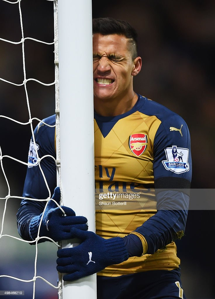 Alexis Sanchez of Arsenal reacts after missing a chance during the Barclays Premier League match between West Bromwich Albion and Arsenal at The Hawthorns on November 21, 2015 in West Bromwich, England.
