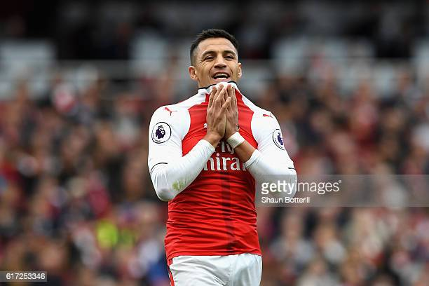 Alexis Sanchez of Arsenal reacts during the Premier League match between Arsenal and Middlesbrough at the Emirates Stadium on October 22 2016 in...