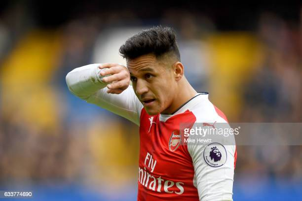 Alexis Sanchez of Arsenal reacts during the Premier League match between Chelsea and Arsenal at Stamford Bridge on February 4 2017 in London England