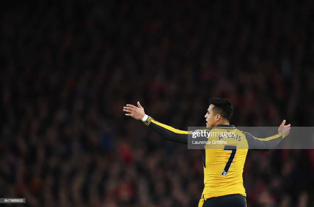 Alexis Sanchez of Arsenal reacts during the Premier League match between Liverpool and Arsenal at Anfield on March 4, 2017 in Liverpool, England.