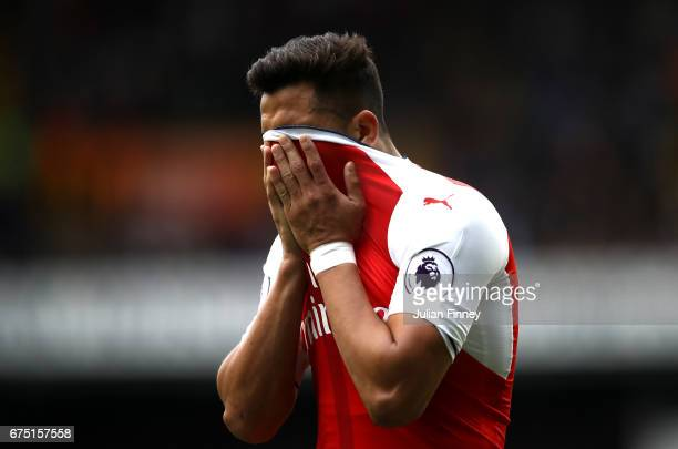 Alexis Sanchez of Arsenal reacts during the Premier League match between Tottenham Hotspur and Arsenal at White Hart Lane on April 30 2017 in London...
